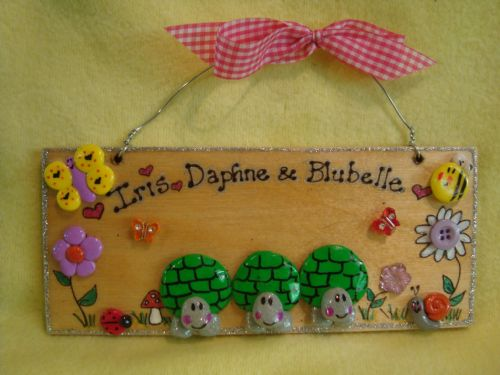 3 Character 3d Tortoises Plaque Sign Wooden For Bedroom, Vivarium Tortoise Table Turtle House Tank Handmade OOAK